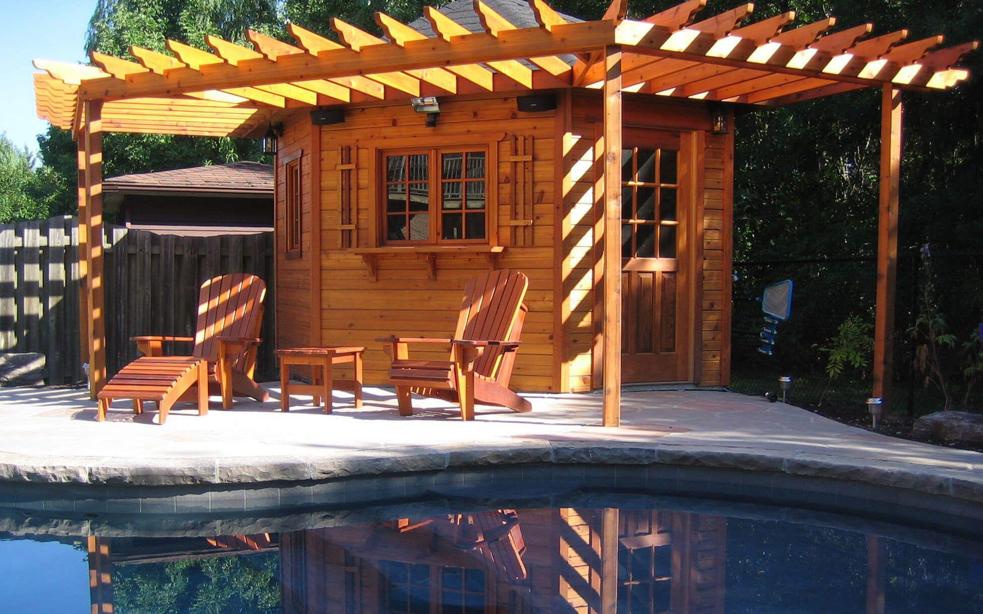 Our 10 ft. Catalina pool cabana with trellis to match the roofline. ID number 47202.